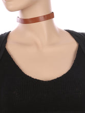Load image into Gallery viewer, Necklace Faux Leather Choker Brown