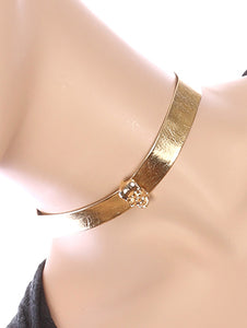 Necklace Metal Skull Charm Metallic Ribbon Choker Gold