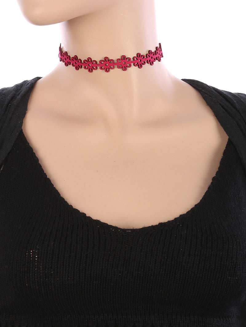 Necklace Floral Pattern Cutout Faux Suede Choker