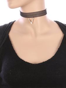 Necklace Metal V Charm Mesh Fabric Choker Black