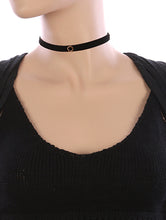 Load image into Gallery viewer, Necklace Metal Ring Charm Velvet Fabric Choker Black