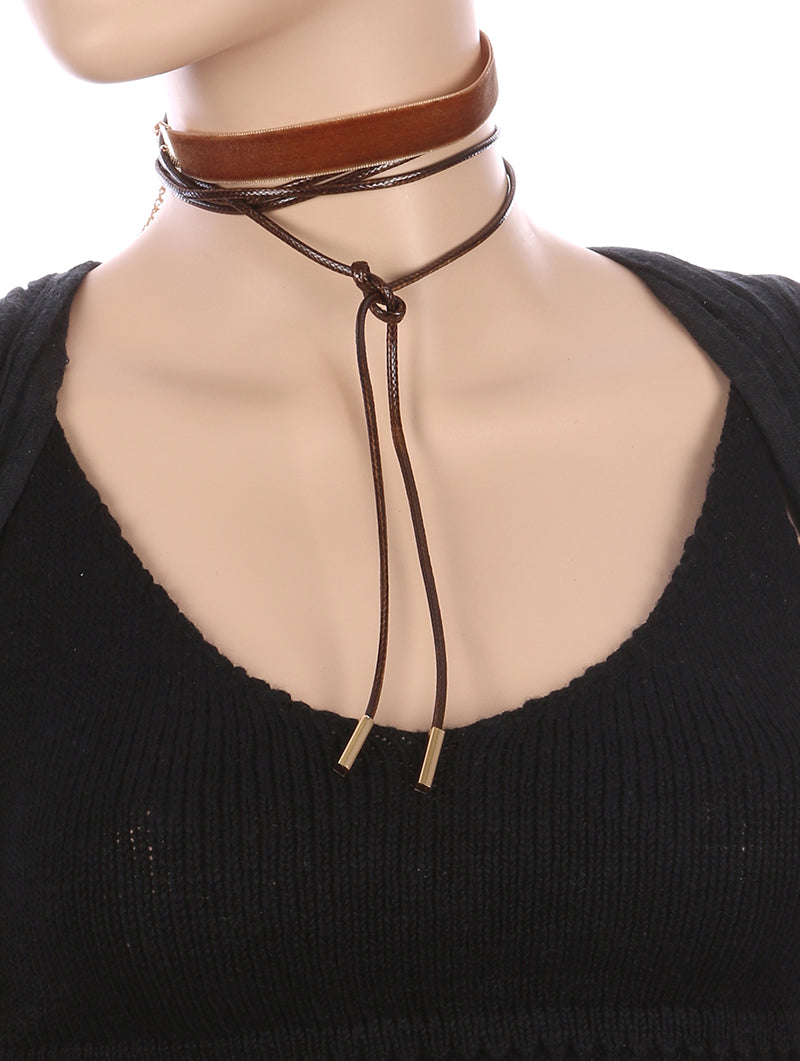 Necklace 2 Pc Velvety Fabric Choker Brown