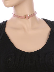 Necklace Hammered Metal Ring Faux Leather Choker