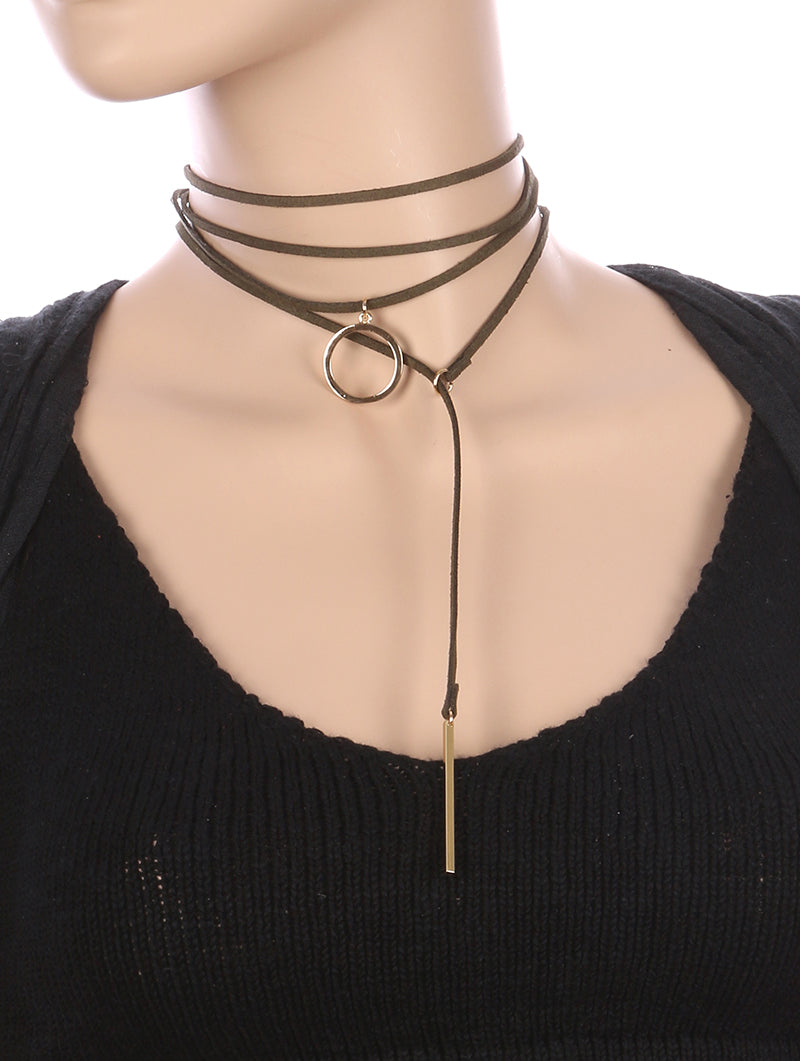 Necklace 2 Pc Faux Suede Choker