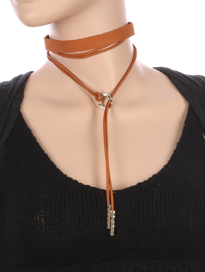 Necklace 2 Pc Faux Suede Choker Brown