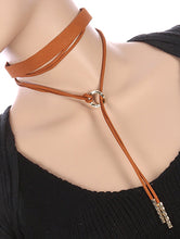 Load image into Gallery viewer, Necklace 2 Pc Faux Suede Choker Brown