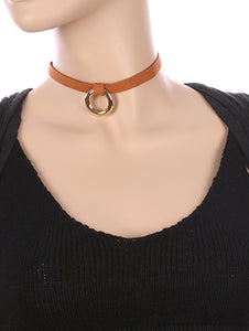 Necklace Metal Ring Charm Faux Suede Choker Brown