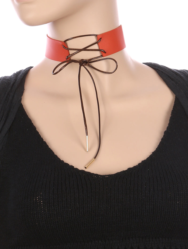 Necklace Faux Leather Lace Front Choker Brown