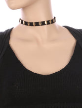 Load image into Gallery viewer, Necklace Metal Skull Stud Faux Leather Choker Black