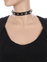 Load image into Gallery viewer, Necklace Metallic Spike Studded Faux Leather Choker Black