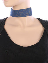 Load image into Gallery viewer, Necklace Metallic Star Pattern Denim Fabric Choker Blue