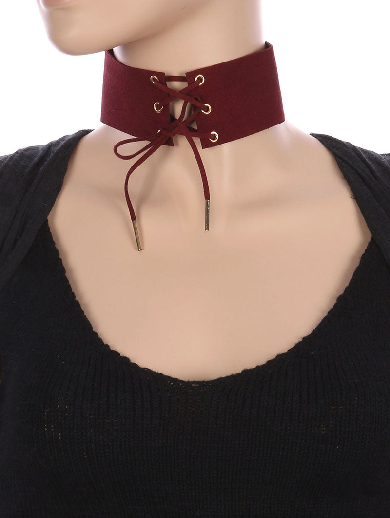 Necklace Laced Front Faux Suede Choker