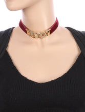 Load image into Gallery viewer, Necklace Curved Metal Link Velvety Fabric Choker