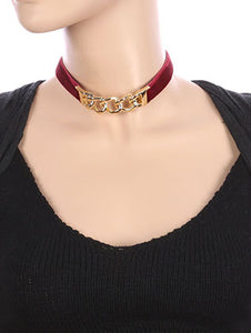 Necklace Curved Metal Link Velvety Fabric Choker