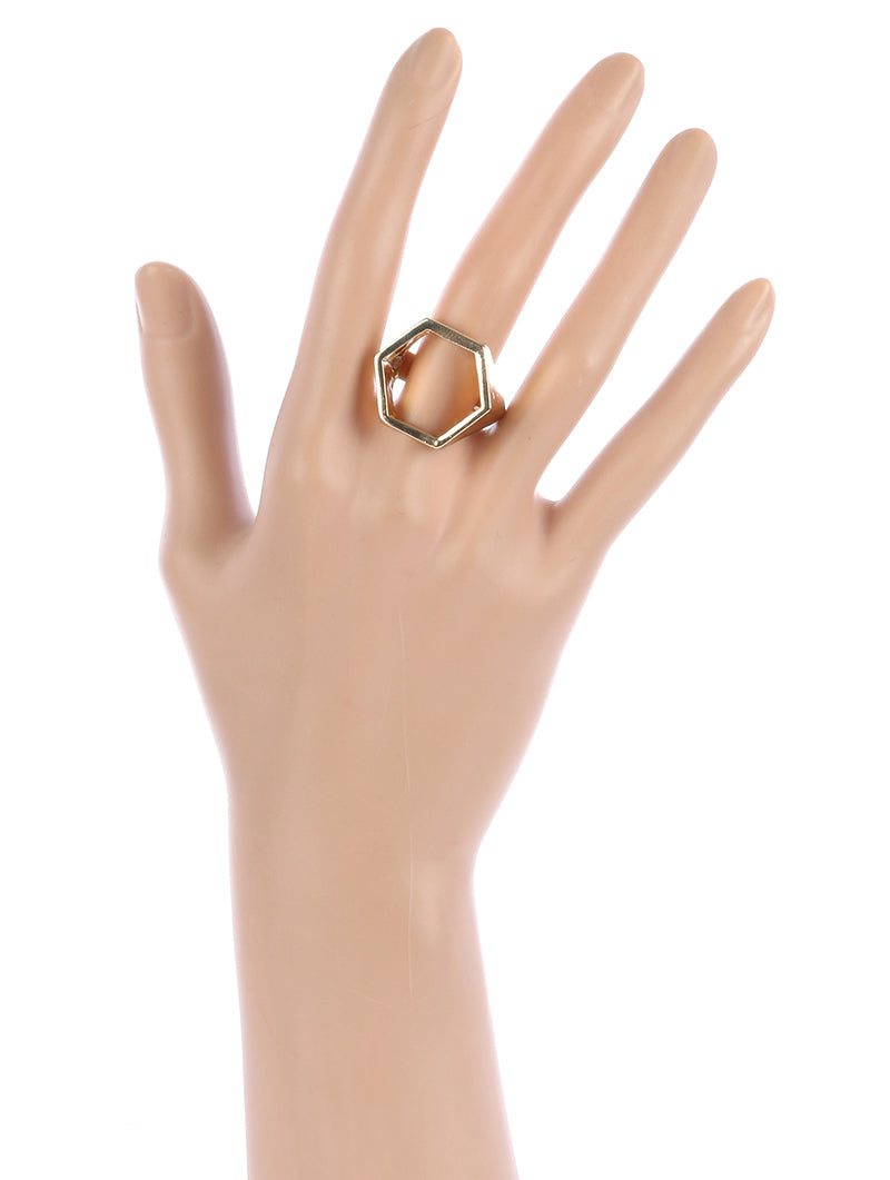 Ring Cutout Hexagon Metal Stretch Gold