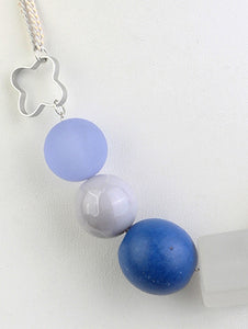 Necklace Bead Ball 17 Inch Long Blue