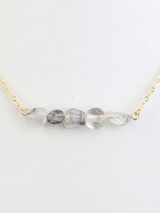 Necklace Natural 4 Stone Bead 16 Inch Long Gray