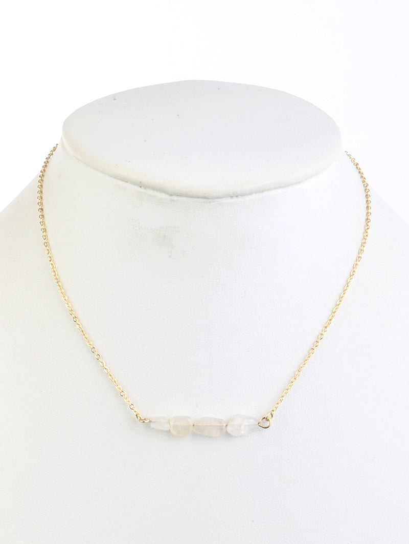 Necklace Natural 4 Stone Bead 16 Inch Long White