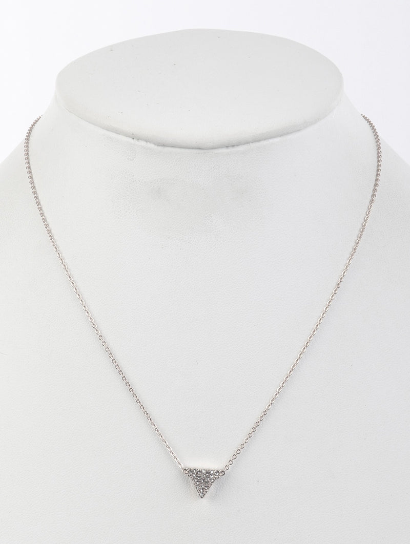 Necklace Triangle Pave Crystal Stone Clear