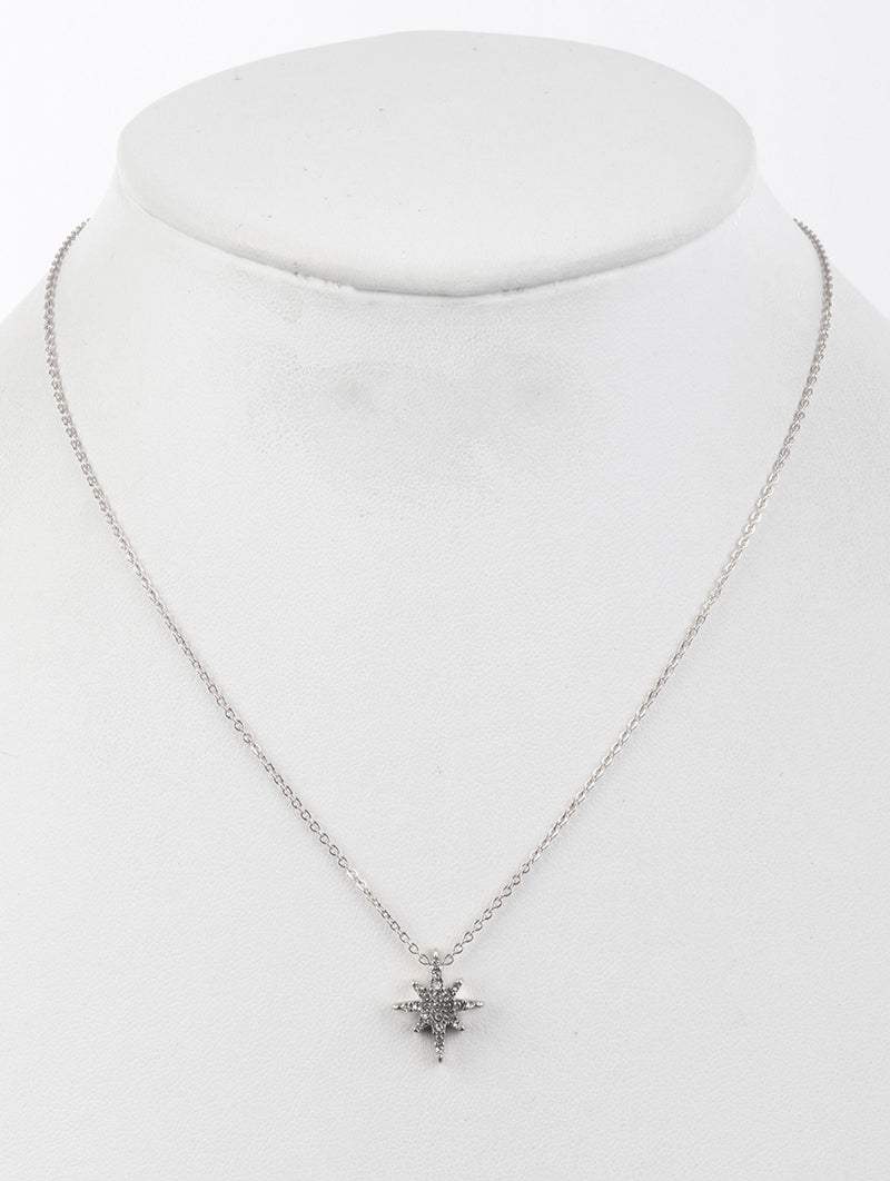 Necklace North Star Pave Crystal Stone Clear