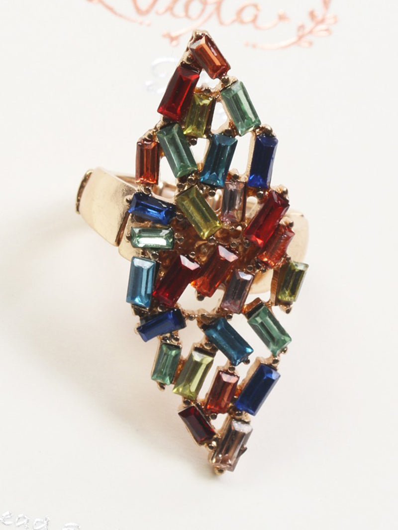 Ring Victorian Style Crystal Stone Multi-color