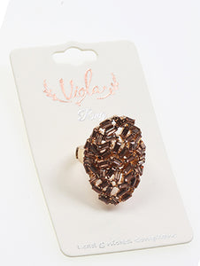 Ring Victorian Style Crystal Stone Brown