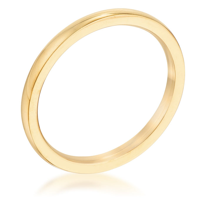 2 Mm 18kt Plated Gold Stainless Steel Wedding Band