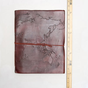 Extra Large World Map Large Handmade Leather Journal - Glitzy Swan