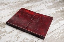 Load image into Gallery viewer, Extra Large World Map Large Handmade Leather Journal - Glitzy Swan