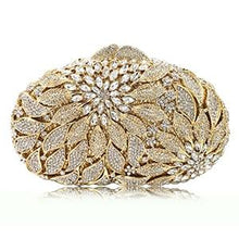 Load image into Gallery viewer, Gold Metal Leaves White Crystals Evening Clutch Hand Bags - Glitzy Swan