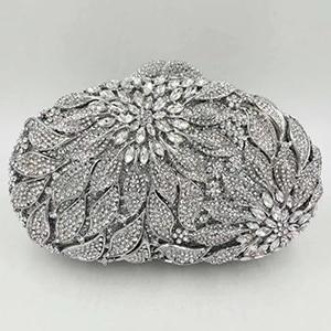 Gold Metal Leaves White Crystals Evening Clutch Hand Bags - Glitzy Swan