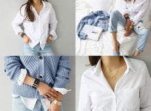 Load image into Gallery viewer, One Pocket Women's White Blouse With Long Sleeves and a Turn Down Collar OL Style Shirt - Glitzy Swan