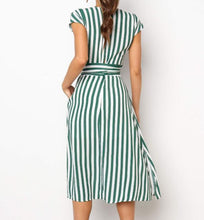 Load image into Gallery viewer, Short Sleeve Striped Empire Waist T-Shirt Drawstring High Waist Summer Dress - Glitzy Swan