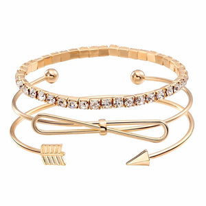 3Pcs/set Bohemian Gold Bracelets Arrow Bow Knot Bangles - Glitzy Swan