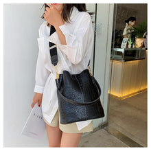 Load image into Gallery viewer, Vegan Leather Faux Crocodile Shoulder Bucket Bag - Ansloth - HPS586 - Glitzy Swan