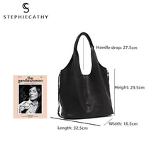 Load image into Gallery viewer, Soft Luxury Leather Bucket Shoulder String Zipper Bag with Liner Bag - Stephie Cathy - Glitzy Swan