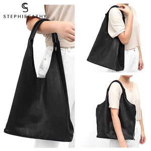 Soft Luxury Leather Bucket Shoulder String Zipper Bag with Liner Bag - Stephie Cathy - Glitzy Swan