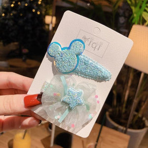 2020 New Cartoon Princess Flower Hairpins Girls Kids Hair Clips Bows Gifts Accessories For Children Hairclip Barrettes Headdress - Glitzy Swan