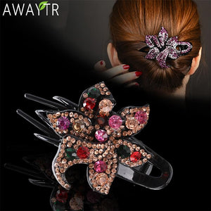 Fashion Colorful Flower Rhinestone Crystal Hair Claw Clip Hair Accessories - Glitzy Swan