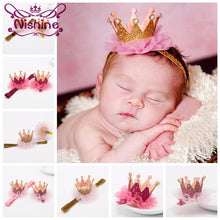Load image into Gallery viewer, Nishine Girl's Head Accessories Hairband Shiny Cute Princess Children Tiara Hair Band Hair Clip Kids Elastic Crown Headwear - Glitzy Swan