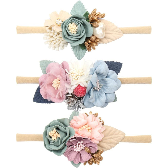 Pearl Flower Headband Baby Nylon Elastic Hair Band Artificial Floral Headwear Newborn Party Bebe Hair Accessories - Glitzy Swan