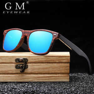 GM Handmade Natural Wooden Sunglasses Men Polarized Eyewear Women Mirror Vintage Oculos de sol masculino UV400 Polarized Lens - Glitzy Swan