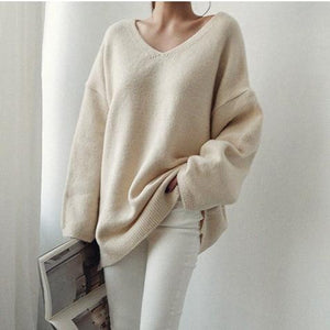 Loose V Neck Oversize Sweater Lazy Knitted Sweater Long Sleeve Pullovers - Glitzy Swan