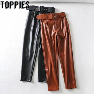 Leather Suit Pants Black Brown Polyurethane Straight Pants High Waist with Belt Trousers - Glitzy Swan