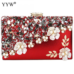 Feminine Crystals and Flowers Evening Bag Clutch - YYW - Glitzy Swan