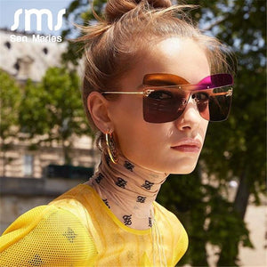 Sen Maries F New Cross Cat Eye Sunglasses Women Colorful  Personality Trend Fashion Gradient Sunglasses Men Ladies Eyewear UV400 - Glitzy Swan