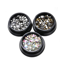 Load image into Gallery viewer, 3 Color Diamond Flatback Rhinestone Glitter Glass Nail Art Rhinestones Bottom Crystal nail art decorations ozdoby do paznokci - Haute Swan LLC