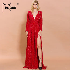 Sparkly Red Deep-V Long Sleeve High Split Reflective Solid Color Sequin Dress