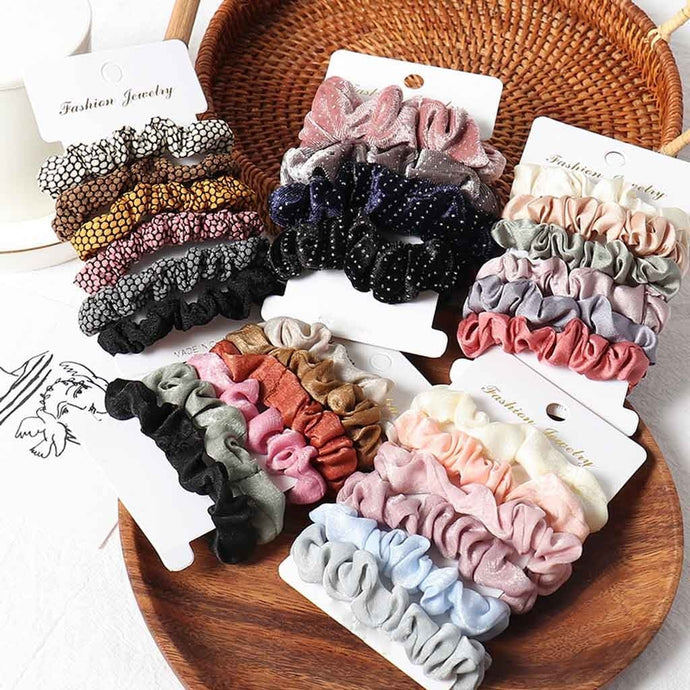 Velvet Scrunchies Hair Band Multi Pack