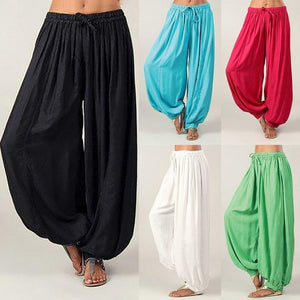 Cotton Linen Full Length Trousers Plus Size S-3XL Solid Color Casual Loose Harem Pants